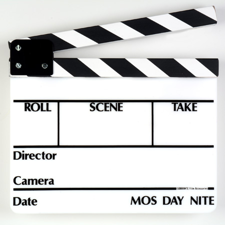 Markertek SLT-13 Director Slate Clapboard - White Film Slate with Black & White Sticks