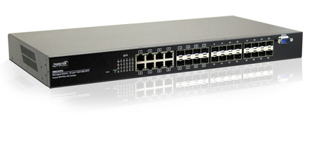 16-port 10/100/1000Base-T & 8x 100/1000 SFP/RJ45 Layer 2 Managed PoE Plus Switch