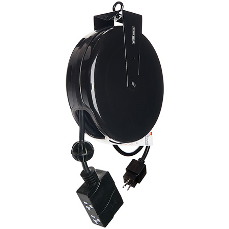 Stage Ninja STX-20-4 20 ft. Retractable Power Reel With 4-Tap Head and Circuit Breaker (12/3 AWG)