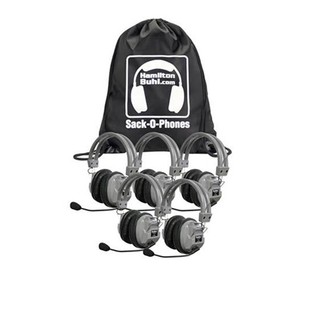 Sack-O-Phones - 5 HA7M Deluxe Headphones with Mic in a Carry Bag