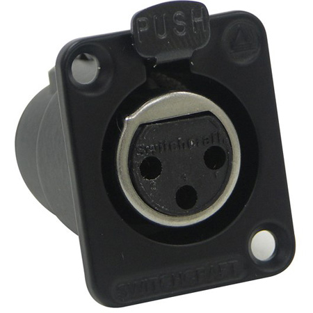 Switchcraft DE3FBAU DE Series Female Panel Mount Connector - 3 Contacts/ Black Finish/ Gold Contact Plating