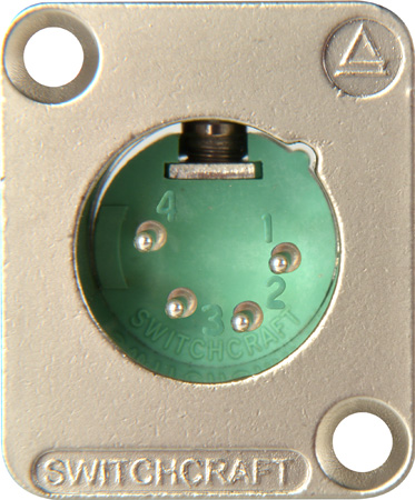 Switchcraft DE4M DE Series Panel Mount - XLR Male 4 Silver Pins Nickel Finish