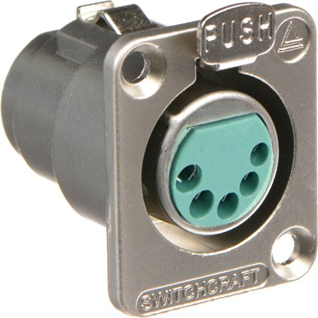 Switchcraft DE5F DE Series Panel Mount - XLR Female 5 Silver Pins Nickel Finish