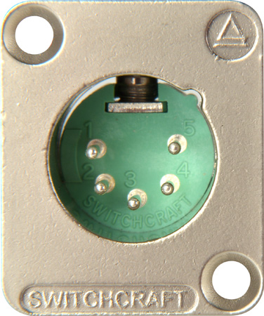 Switchcraft DE5M DE Series Panel Mount - XLR Male 5 Silver Pins Nickel Finish