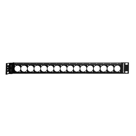 Switchcraft QGPK1BF1 1RU Empty Hinged QG Panel with 1x16 E Series Knockouts - 4-40 Tapped Holes