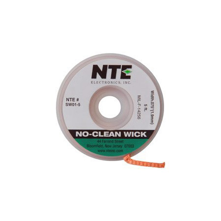 NTE SW01-25 No-Clean Solder Wick #3 Green 0.075 Inch Wide 25 Feet