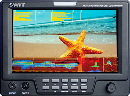 SWIT S-1071F 7 Inch HDSDI & HDMI Waveform LCD Monitor with S-7004P Battery Mount for Panasonic CGR-D