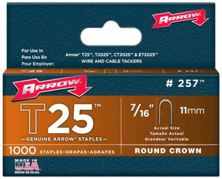 7/16-Inch Staples for Arrow T25 Staple Gun 1000 Pack