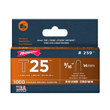 9/16-Inch Staples for Arrow T25 Staple Gun 1000 Pack