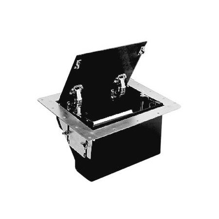 FSR TB-5G-BLK-LIFT Table Box - Black Aluminum Cover w/ Cable Exit Door - Lift Latches - 5 Gang