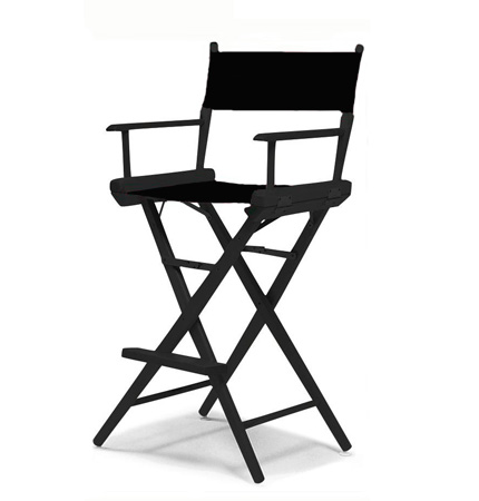 Tall Directors Chair - Black Frame / Black Canvas