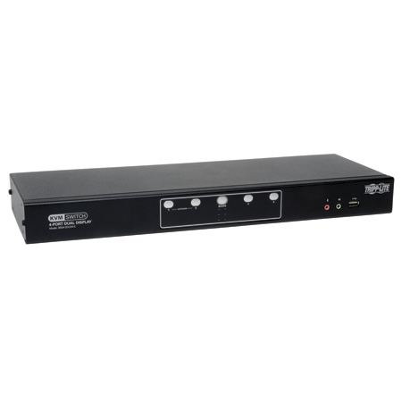 Tripp Lite B004-2DUA4-K 4-Port Dual Monitor DVI KVM Switch Audio/ USB 2.0 Hub/ Cable TAA