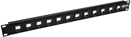 Tripp Lite N062-012-KJ 12 Port 1U Rackmount Unshielded Blank Keystone/Multimedia Patch Panel - RJ45/Ethernet/USB/HDMI