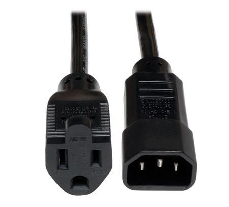 Tripp Lite P002-001-10A Universal AC Power Adapter Cord 10A 18 AWG (IEC-320-C14 to NEMA 5-15R) 1 Feet