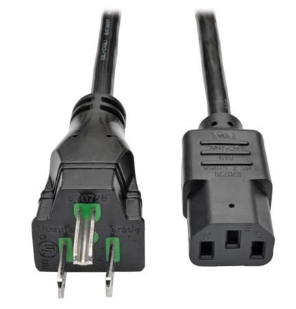 Tripp Lite P006-003-HG10 Hospital-Grade Computer Power Cord 10A 18  AWG (NEMA 5-15P to IEC-320-C13) 3 Feet