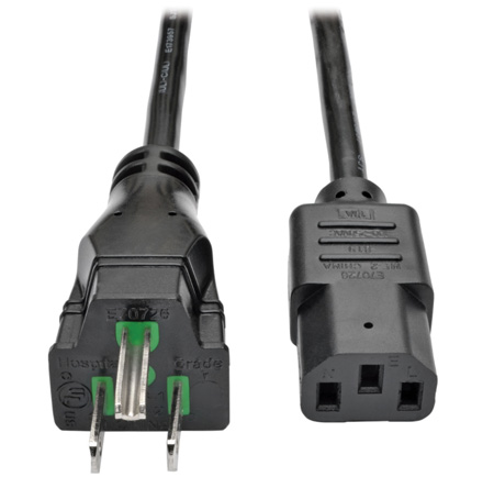 Tripp Lite P006-010-HG10 Hospital-Grade Computer Power Cord 10A 18  AWG (NEMA 5-15P to IEC-320-C13) 10 ft.