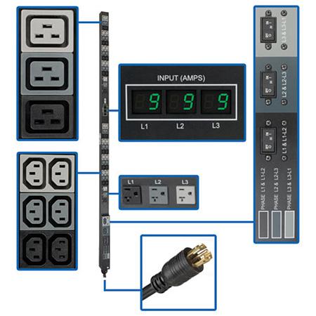 Tripp Lite PDU3MV6L2130 PDU 3-Phase Metered 208V / 120V 36 C13 6 C19 6 5-15/20R 0URM