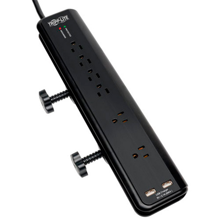 Tripp Lite TLP606DMUSB 6-Outlet Surge Suppressor- 6-Ft Cord 2 Port USB Charger