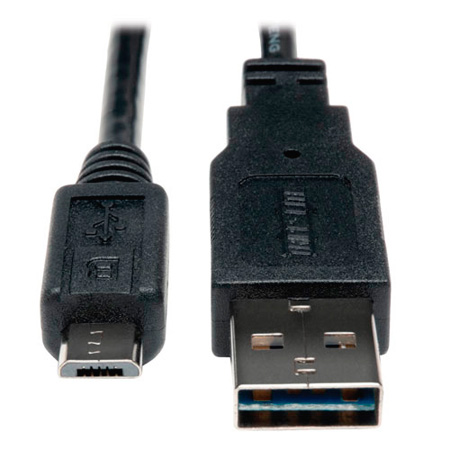 Tripp Lite UR050-003 USB 2.0 Reversible A Male to Micro B Male Cable - 3 ft.