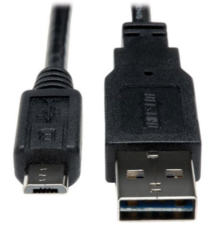 Tripp Lite UR050-010 USB 2.0 Reversible A Male to Micro B Male Cable - 10 ft.