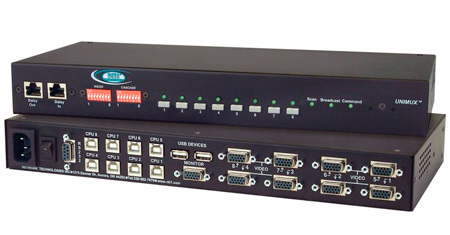 NTI UNIMUX-USBV-4O-RS - 4-Port VGA USB KVM Switch with OSD and RS232