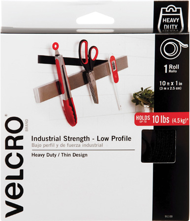 VELCRO® Brand 91100 Industrial Strength Low Profile Hook & Loop 1-Inch x 10 Foot Roll - Black