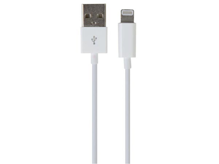 Velleman PCMP65 USB A Male to Lightning 8-Pin Male Cable - White - 1 Meter