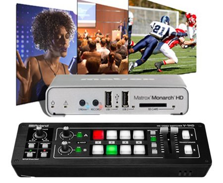 A Video Streaming Kit with Roland V-1HD Switcher and Matrox Monarch HD Video Streaming and Recording Appliance