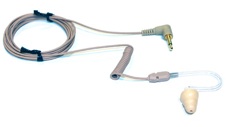 Voice Technologies VT600T Earphone Coiled Transparent Tube Straight Cable w/3.5 mm TS Connector - Beige