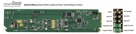 Ward-Beck openGear D6204A+RM AES/EBU Digital-to-Analog Audio Converter w/Rear Terminal Module