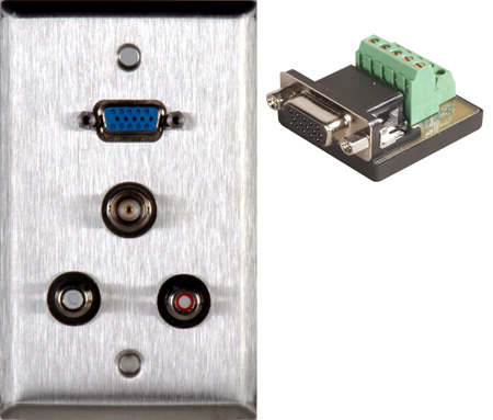 1G Brass Anodized Wall Plate with 1 HD15 VGA-TB / 2 RCA Barrels and 1 BNC Barrel