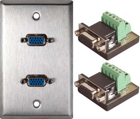 1-Gang Stainless Plate with 2 HD 15-Pin Female Terminal Block