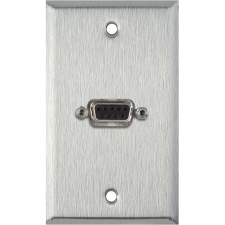 1G Gray Lexan Wall Plate with One 9-Pin D-Sub Rear Solder Connector