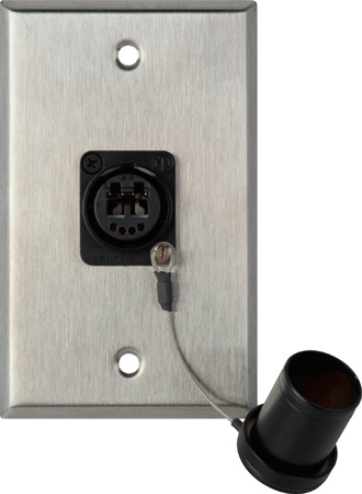 Camplex WPL-1214 1-Gang Stainless Steel Wall Plate w/ 1 OpticalCON DUO Fiber Optic & Dust Cap
