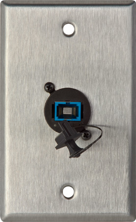 Camplex WPL-1221 1-Gang Stainless Steel Wall Plate with 1 SC Singlemode Fiber Optic Connector