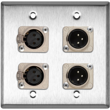 Neutrik Dual 3-Pin XLR Male & Dual XLR Female 2G Gray Lexan Wall Plate