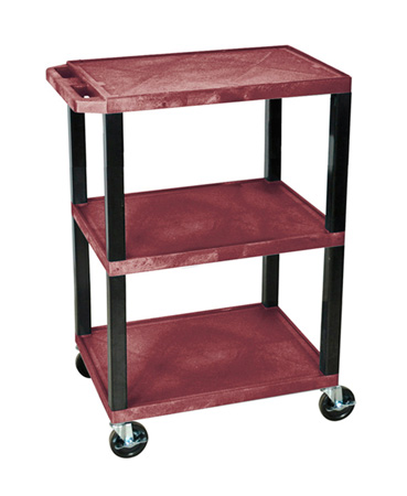 H Wilson WT34S - 34-Inch High Burgundy Tuffy Utility Cart - 3 Shelves