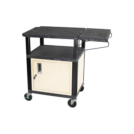 Black/Putty 34-Inch Coffee Cart with Cabinet