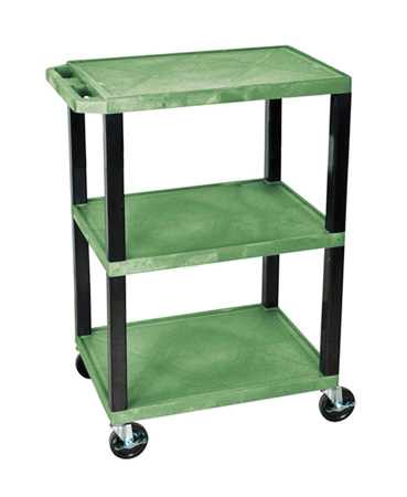 H Wilson WT34S - 34-Inch High Green Tuffy Utility Cart - 3 Shelves