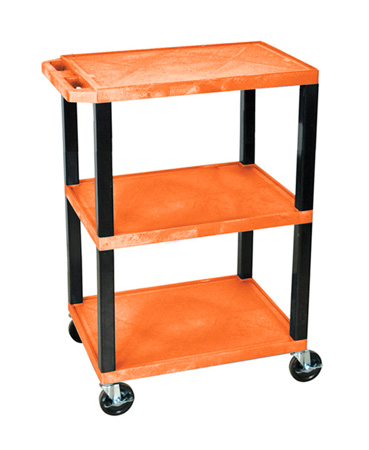 H Wilson WT34S - 34-Inch High Orange Tuffy Utility Cart - 3 Shelves
