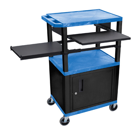 Blue/Black 42-Inch Tuffy Cabinet Cart w/Keyboard Shelf/Side Shelf/Electric