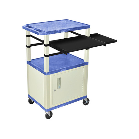 Blue/Putty 42-Inch Tuffy Cabinet Cart w/Keyboard Shelf/Side Shelf/Electric
