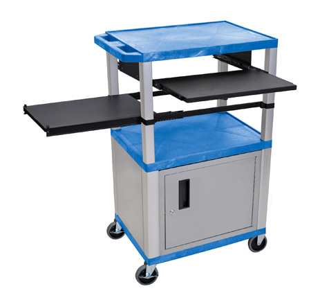 Blue/Nickel 42-Inch Tuffy Cabinet Cart w/Keyboard Shelf/Side Shelf/Electric