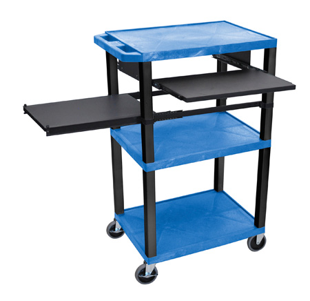 Blue 42-Inch Tuffy Cart - Black Legs with Keyboard & Side Shelf Plus Electric