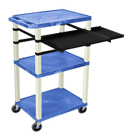 Blue 42-Inch Tuffy Cart - Putty Legs with Keyboard & Side Shelf Plus Electric