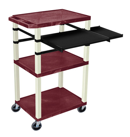 Burgundy 42-Inch Tuffy Cart - Putty Legs w/Keyboard & Side Shelf Plus Electric