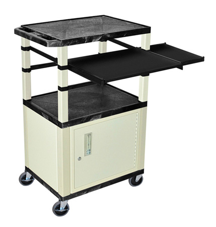 Black/Putty 42-Inch Tuffy Cabinet Cart w/Keyboard Shelf/Side Shelf/Electric
