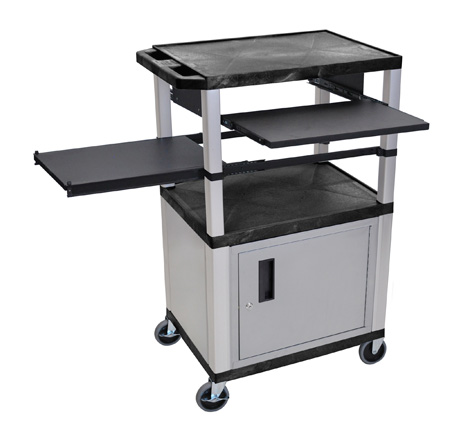 Black/Nickel 42-Inch Tuffy Cabinet Cart w/Keyboard Shelf/Side Shelf/Electric