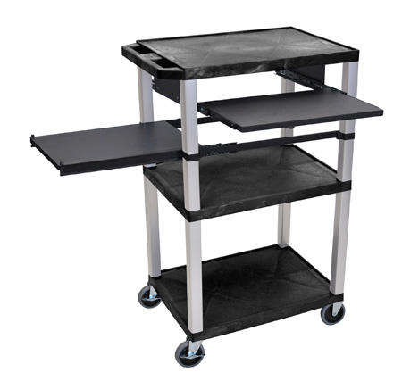 Black 42-Inch Tuffy Cart - Nickel Legs with Keyboard & Side Shelf Plus Electric