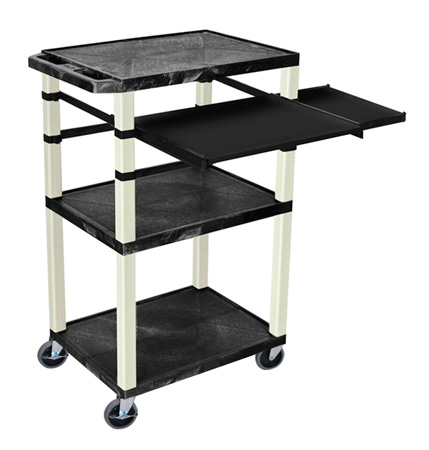 Black 42-Inch Tuffy Cart - Putty Legs with Keyboard & Side Shelf Plus Electric